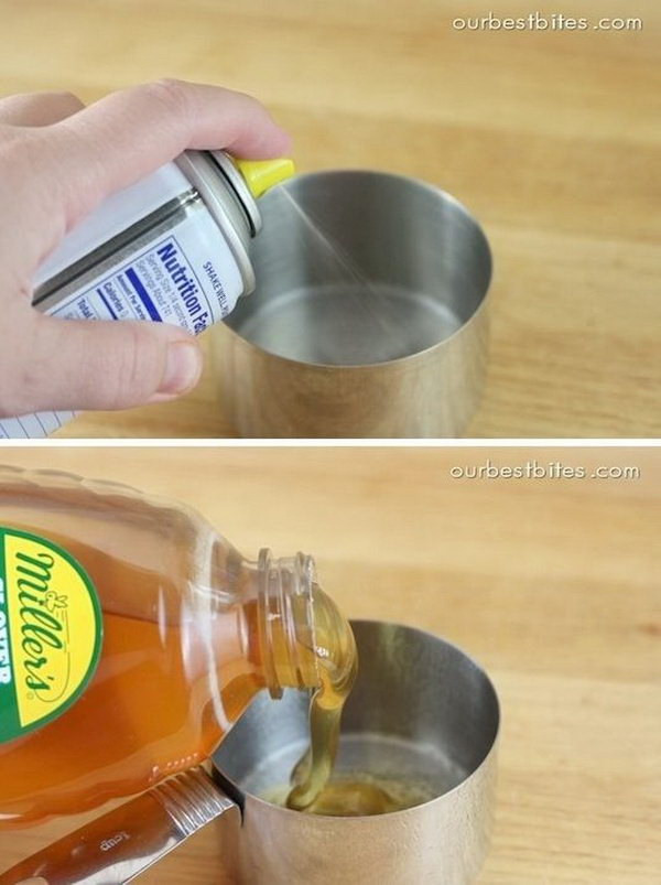 Kitchen Hack for Easy Measuring Sticky Stuff.