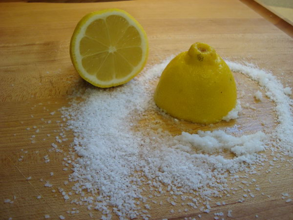 Use Lemon and Kosher Salt to Clean a Cutting Board.