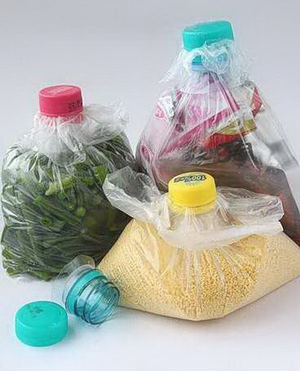 Recycle Plastic Bottles and Caps for Improving Plastic Bag Storage.