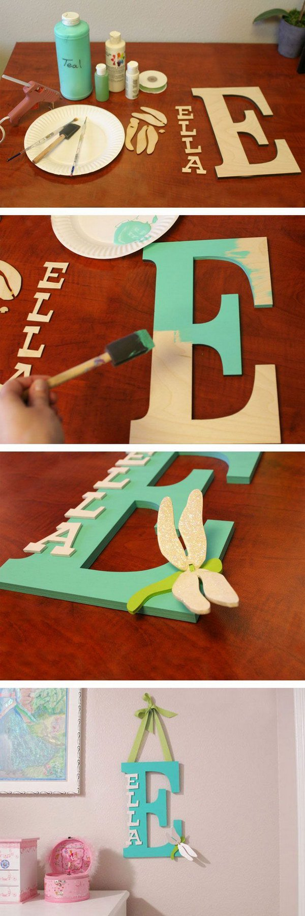 Painted Wooden Letter for Kids' Room.