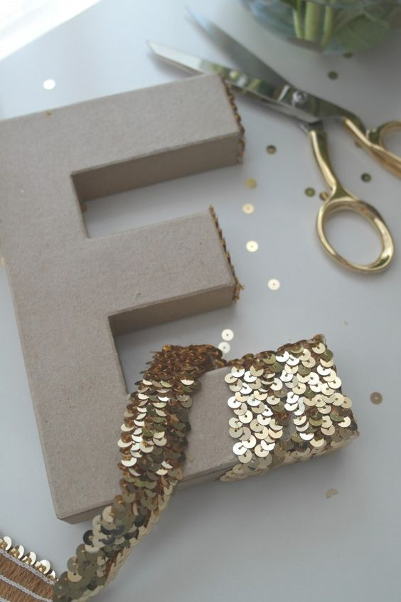 DIY Sequin Letters.