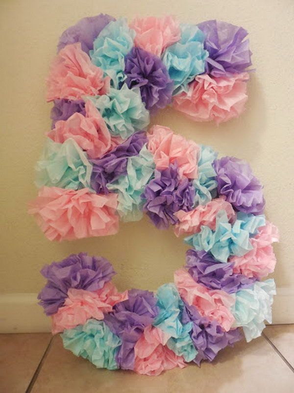DIY Tissue Paper Birthday Number.