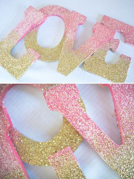 Ombre Glitter LOVE Sign.