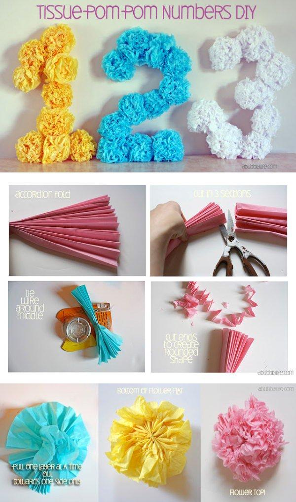 DIY Tissue Pom-pom Flower Letters.