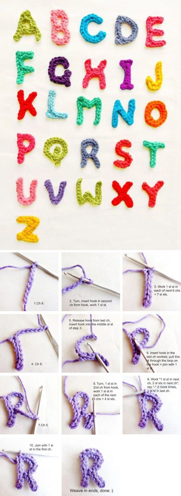 Crochet Letters Using Left Over Yarns.