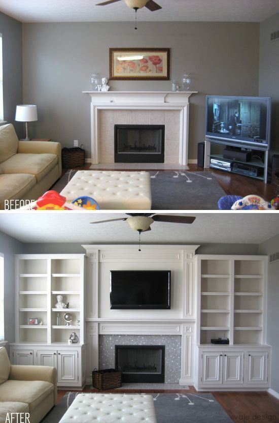 Add Book Shelves And Incorporate The Large TV