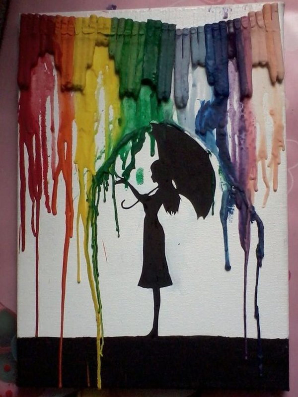 Umbrella Girl Melted Crayon Art