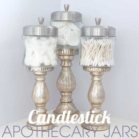 DIY Candlestick Apothecary Jars.