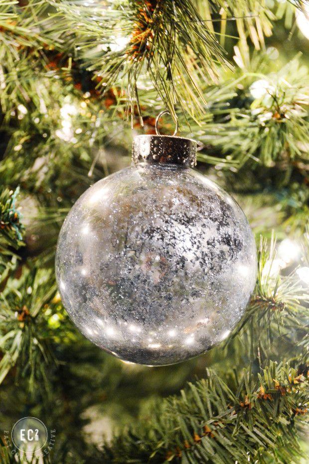 DIY Winter Crystal Mercury Glass Ornament