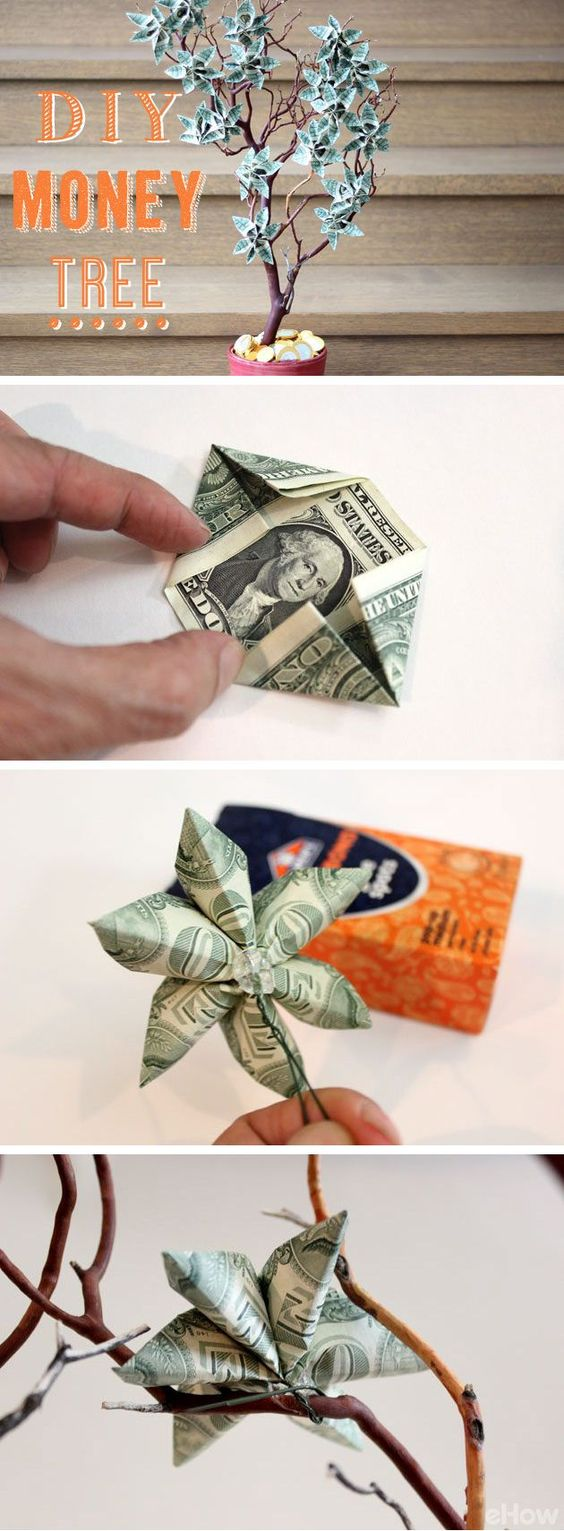 Money Tree Decorated With Dollar Bills Folded Into Floral Shapes.