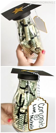 Graduation Glass Bottle Filled With Tiny Money Diplomas.