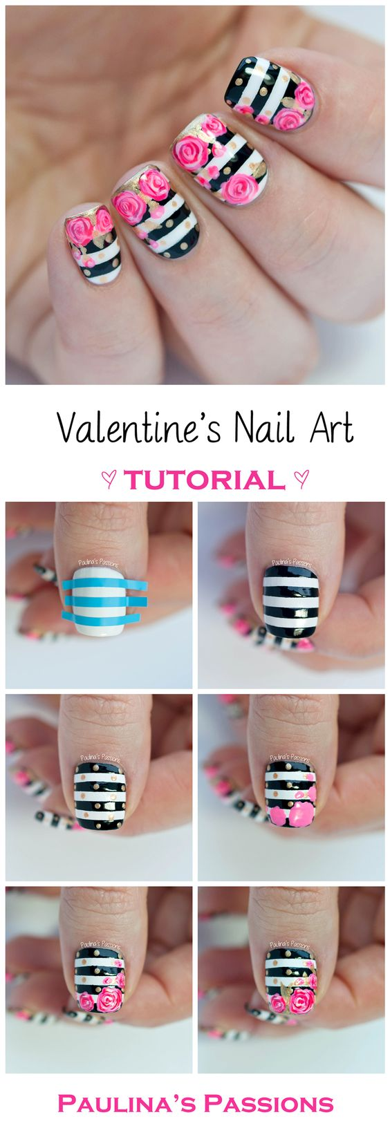 30 easy and fun nail art tutorials 2017 valentines roses nail art prinsesfo Gallery