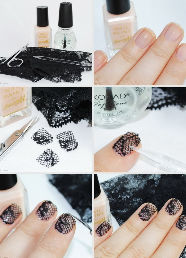 30 easy and fun nail art tutorials 2017 black lace nail art prinsesfo Image collections