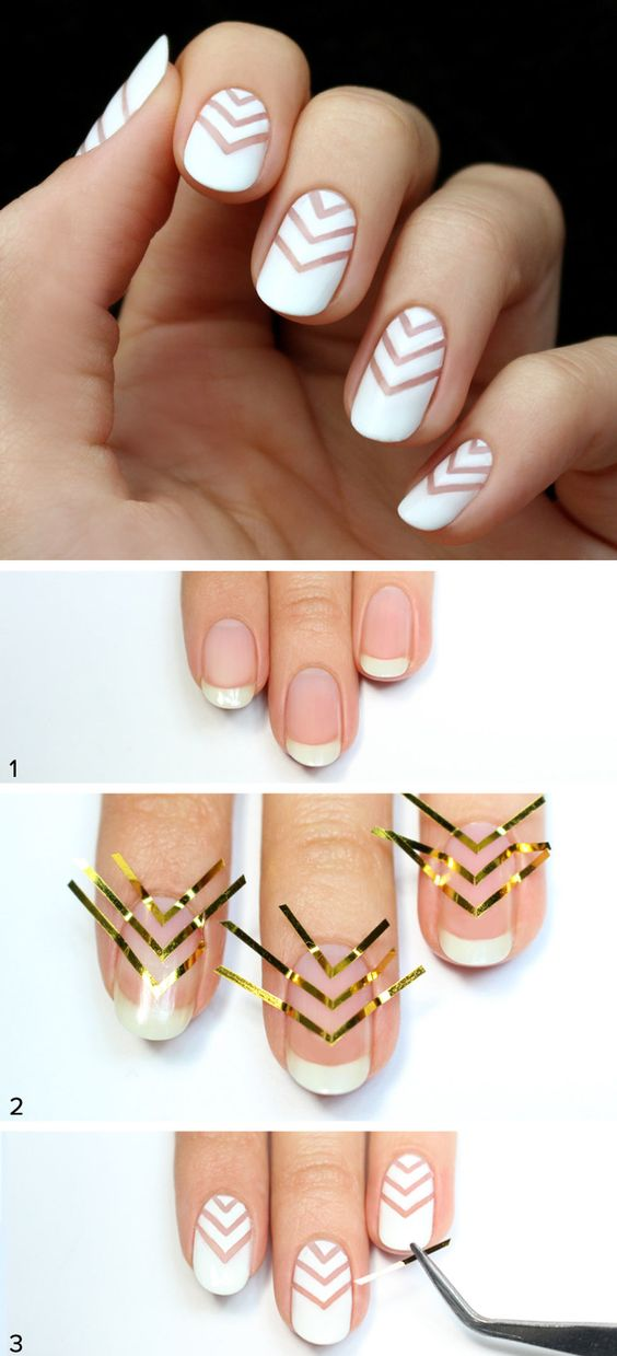 Use Striping Tape To Create A White Chevron Negative Space Nail Art.