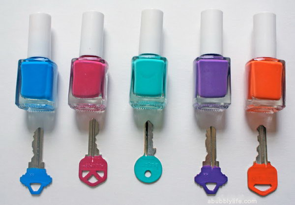 Identify Your Keys with Different Colors of Nail Polish.