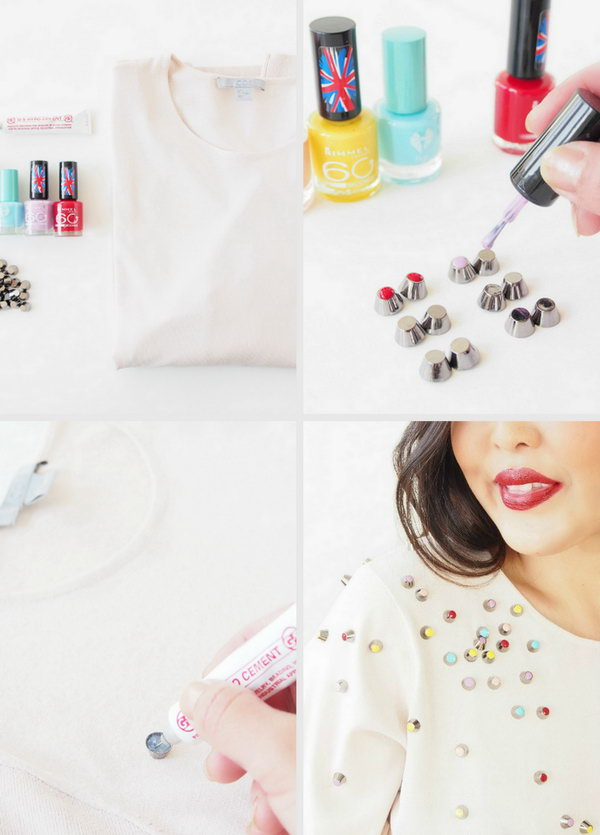 Use Nail Polish and Studs to Make a Chanel-Inspired Top.