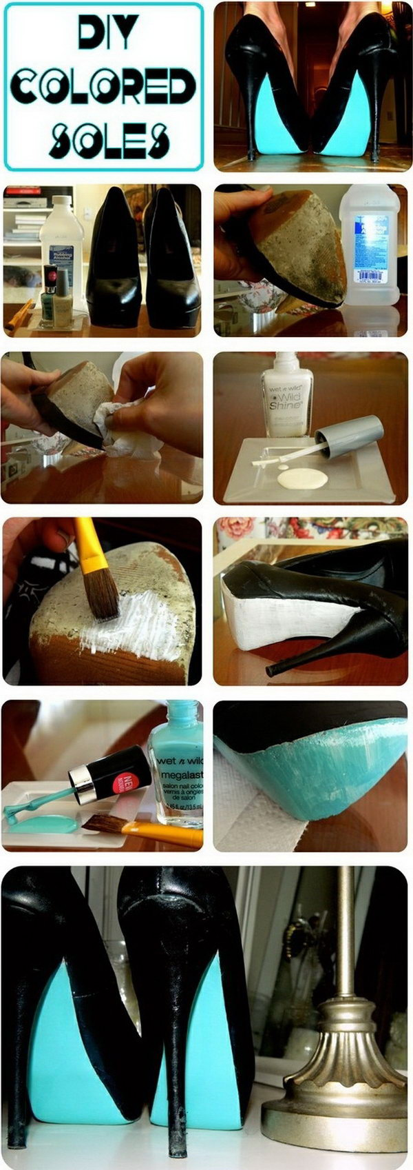 Makeover Your old Shoe Soles With Nail Polish.