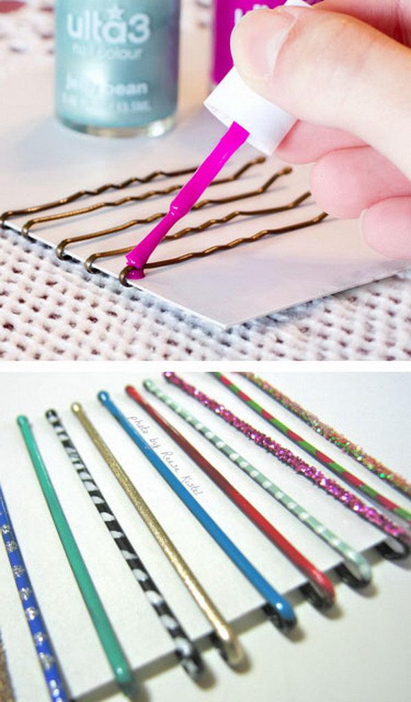 Use Nail Polish to Paint Bobby Pins for Extra Glamor.