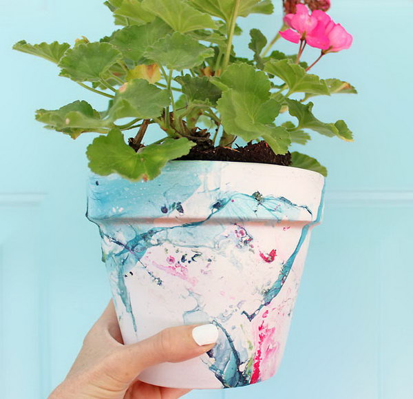 Or DIY Marbled Flower Pot.
