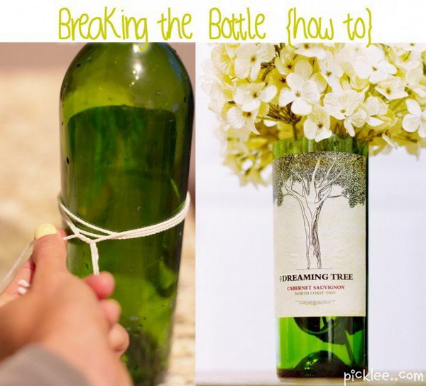 Turn Empty Wine Bottles into Amazing and Unique Vases with Nail Polish Remover.