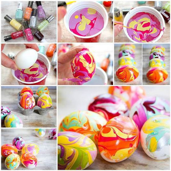 DIY Easter Nail Polish Marbled Eggs.