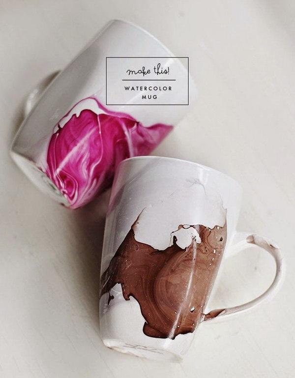 Use Nail Polish to DIY Watercolor Coffee Mugs.