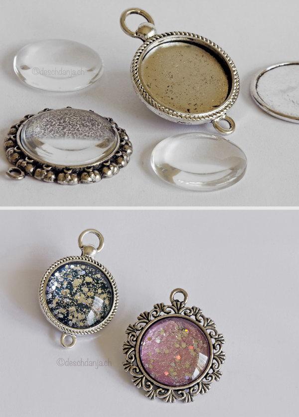 Create Individual Nail Polish Pendants with Nail Polish and Glitter.