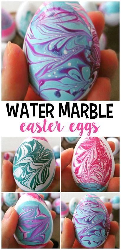 Water Marble Easter Egg Using Nail Polish.