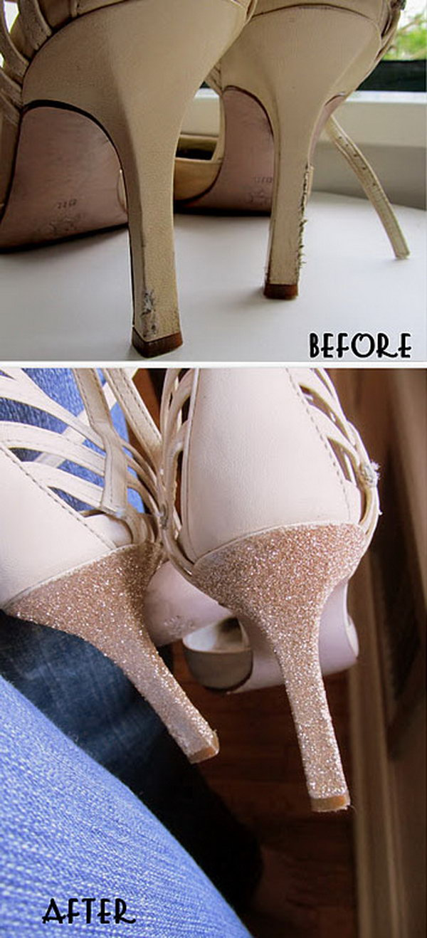 Use Glitter and Glue to Fix Old Heels.
