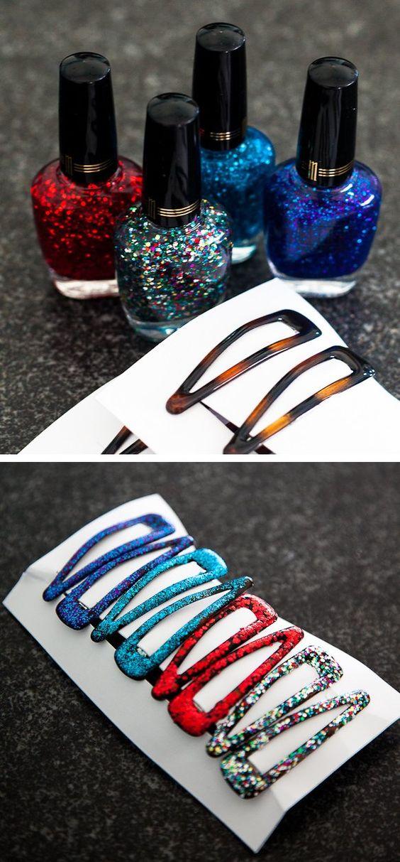 DIY Glittery Barrettes.