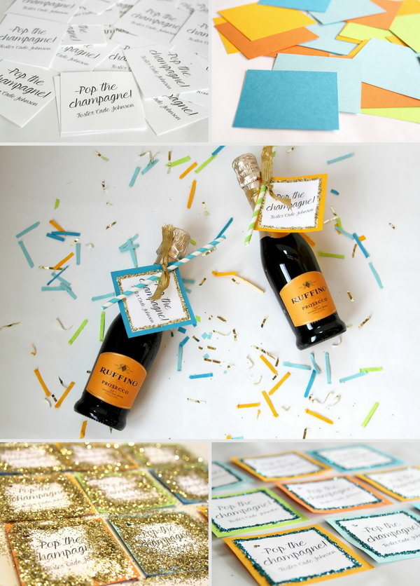 Use Glitter Nail and Paper to DIY Mini Champagne Favors.