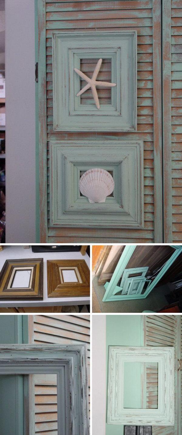 DIY Shabby Beach Cottage Framed Seashells