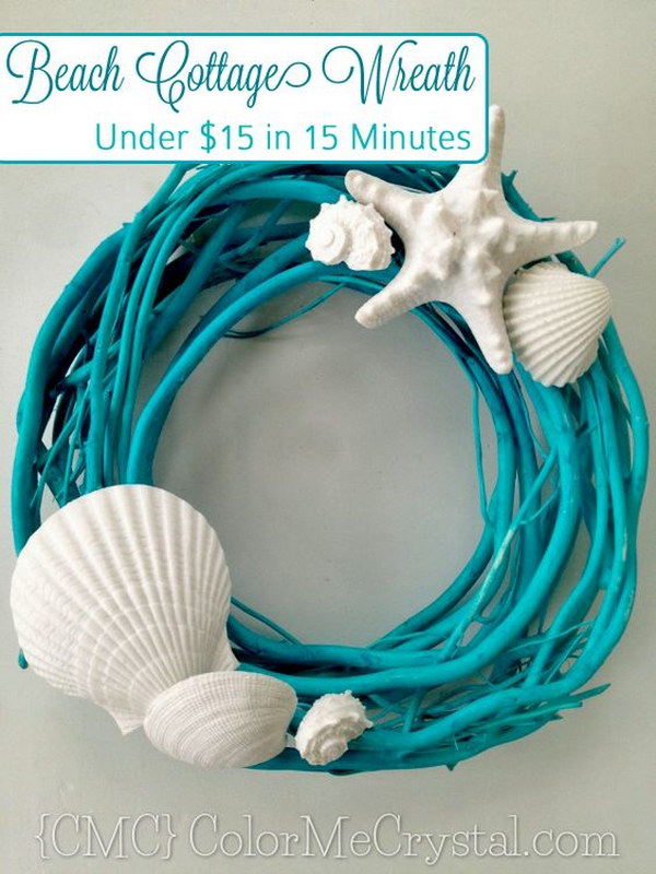 DIY Beach Wreath Made From Spray Painted Branch And Seashell