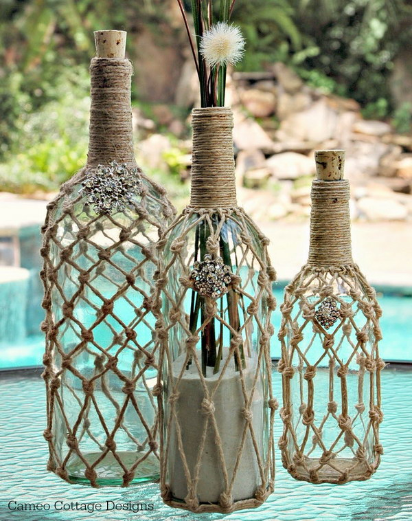DIY Knotted Jute Net Bottles