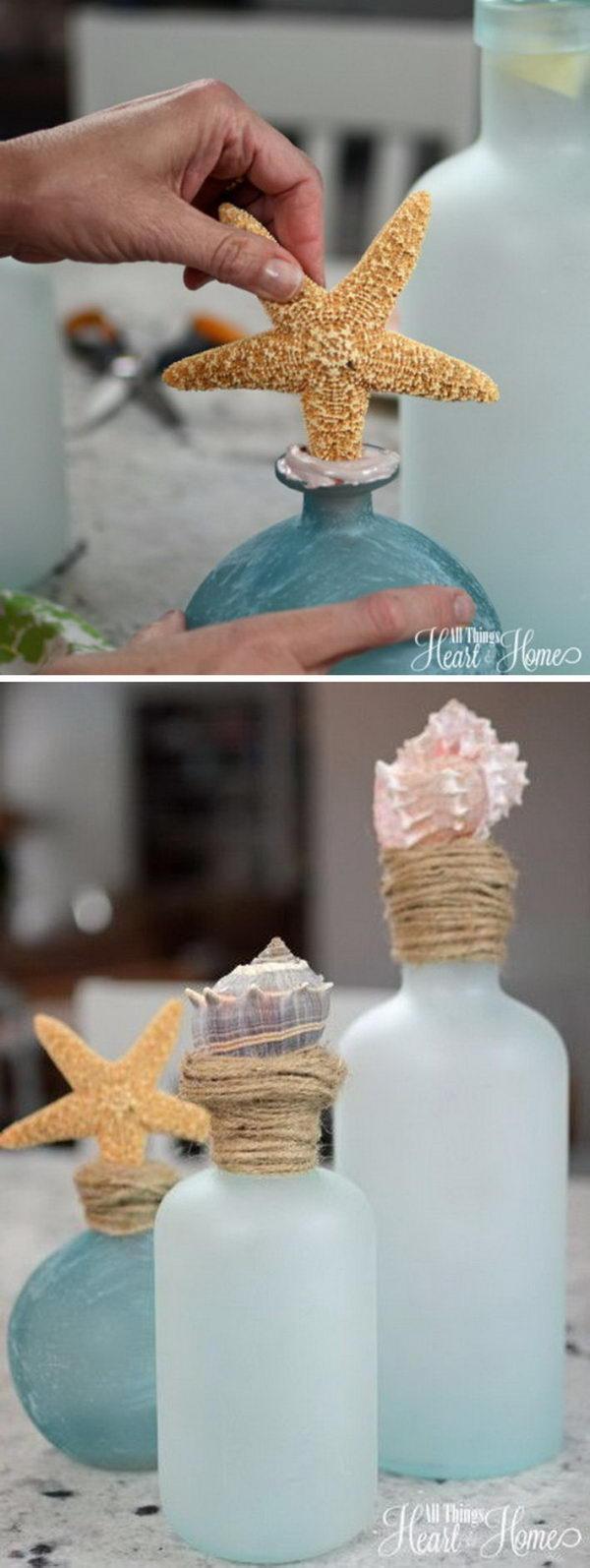 DIY Shell Topped Bottles.