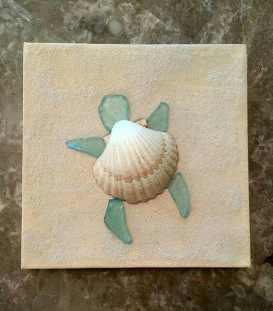 Easy DIY Sea Turtle Made From Shell And Sea Glass