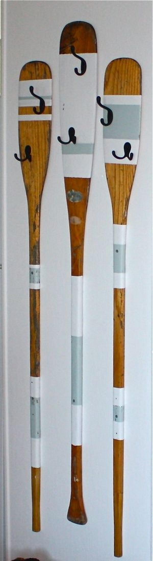 Upcycled Rowing Oars Coat Hangers