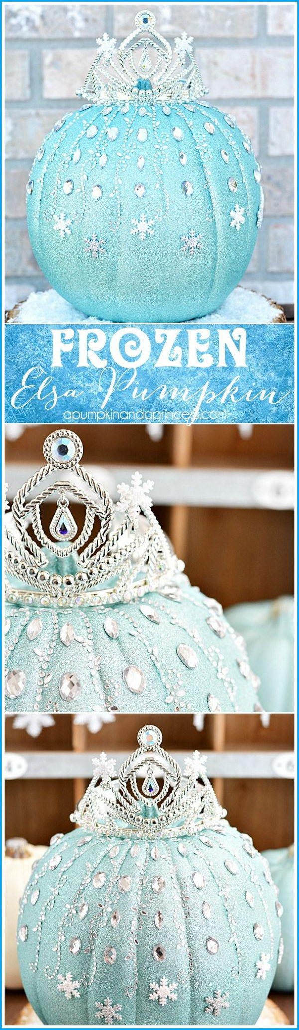 DIY No Carving Frozen Elsa Pumpkin. Oh, my word! This frozen Elsa pumpkin is seriously adorable! And it's much more easy to decorate than you may think.