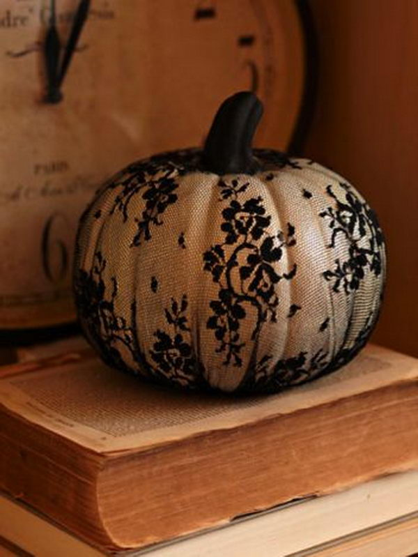 DIY Lace Covered Pumpkin.