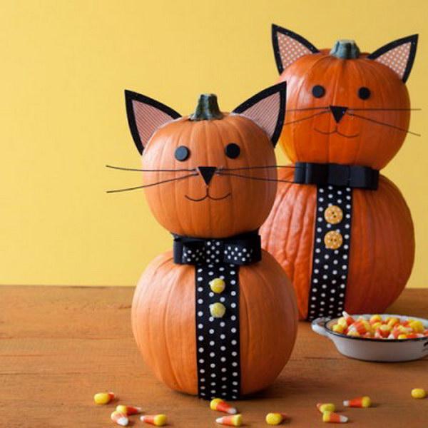 Tuxedo Pussycat Halloween Pumpkin.