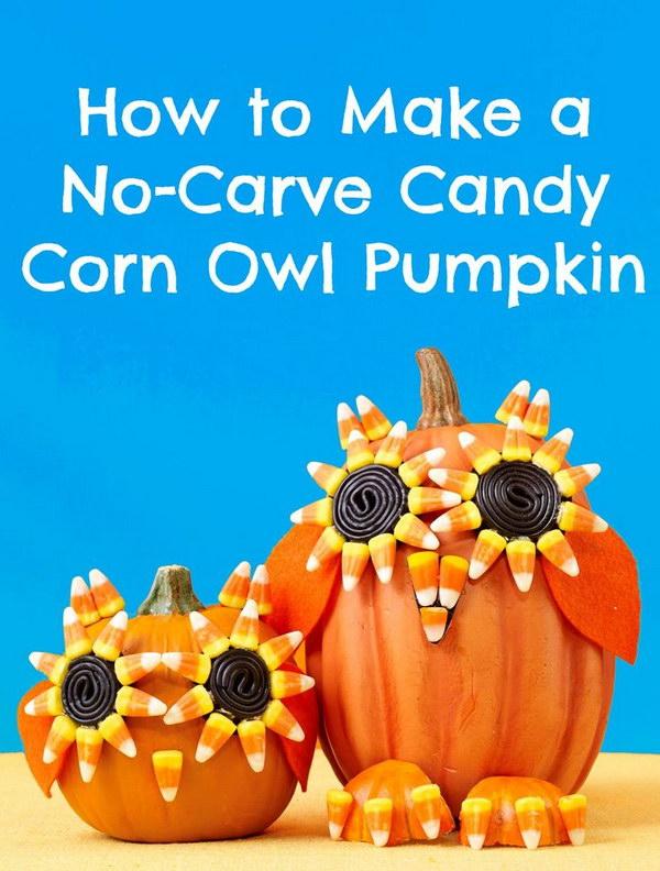 Halloween Candy Corn Owl Pumpkin.