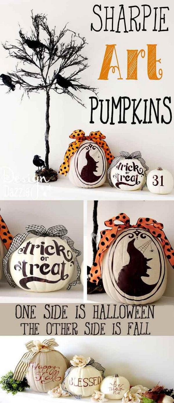 DIY Two-sided Decorative Pumpkins.