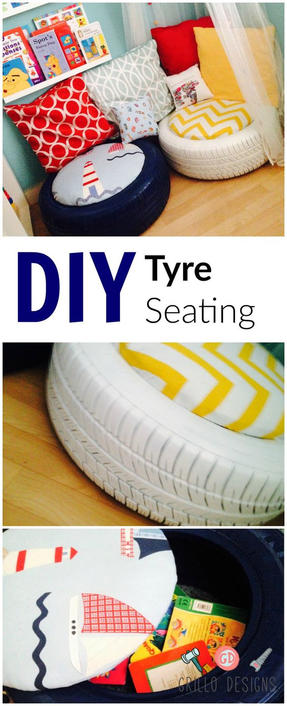 These DIY Tyre Seating Double As Extra Storage.