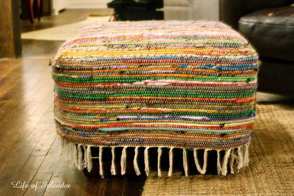DIY Floor Pouf from Repurposed Rug.