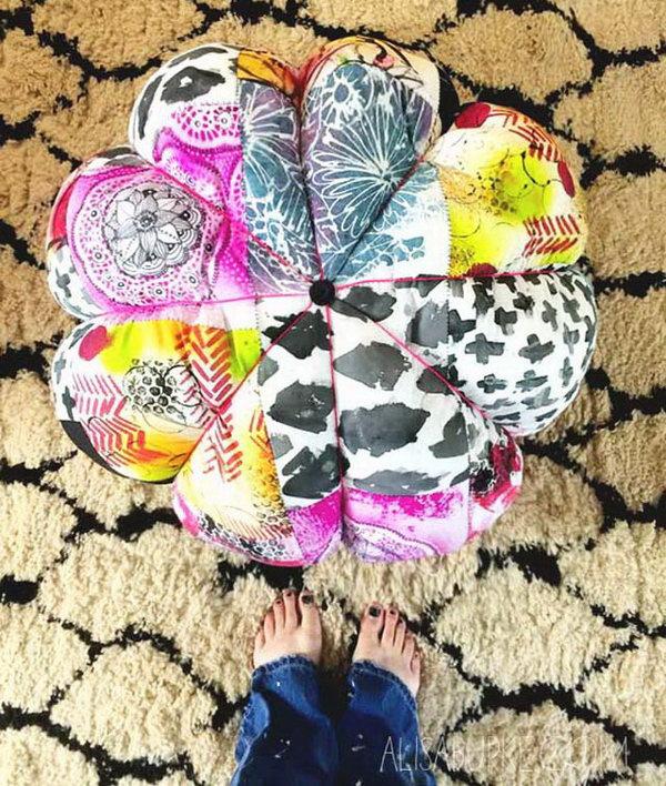 Colorful DIY Scrap Fabric Floor Pouf.