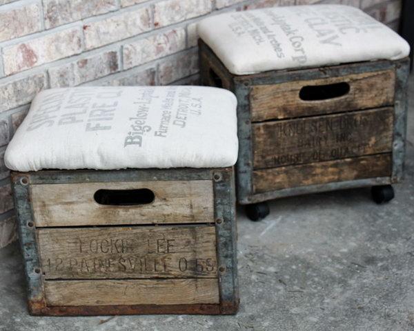 DIY Milk Crate Ottoman.