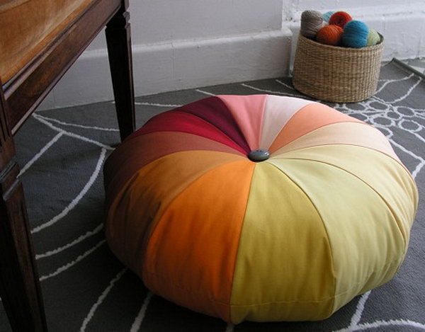 DIY Sewing Floor Pouf.