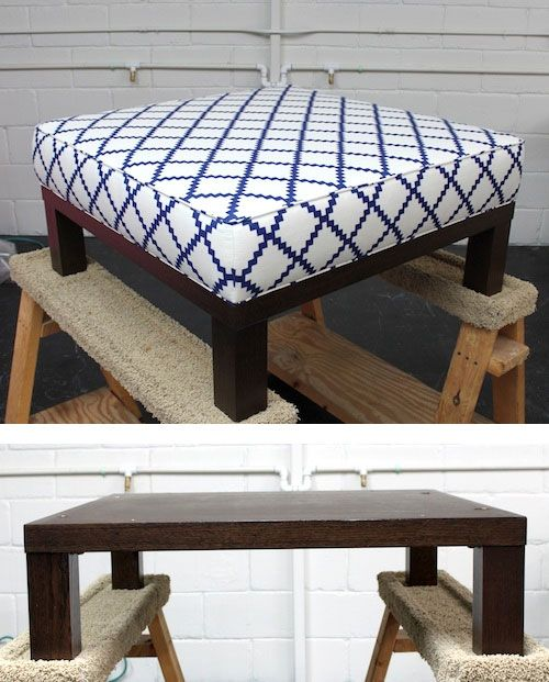 Turn A Cheap End Table Into A Padded Ottoman