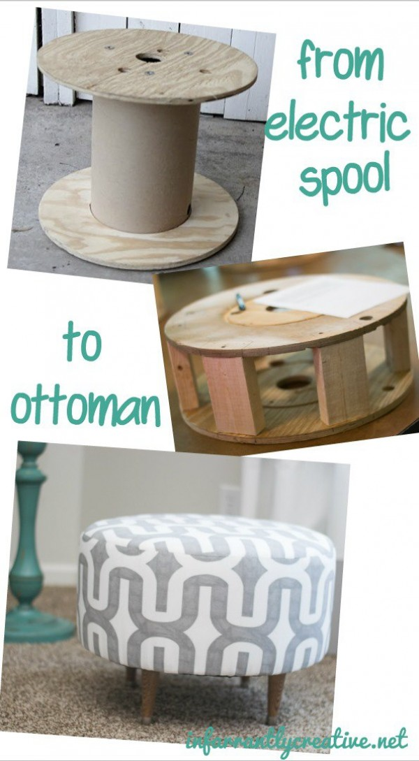 Ottoman Made From an Old Electric Spool.