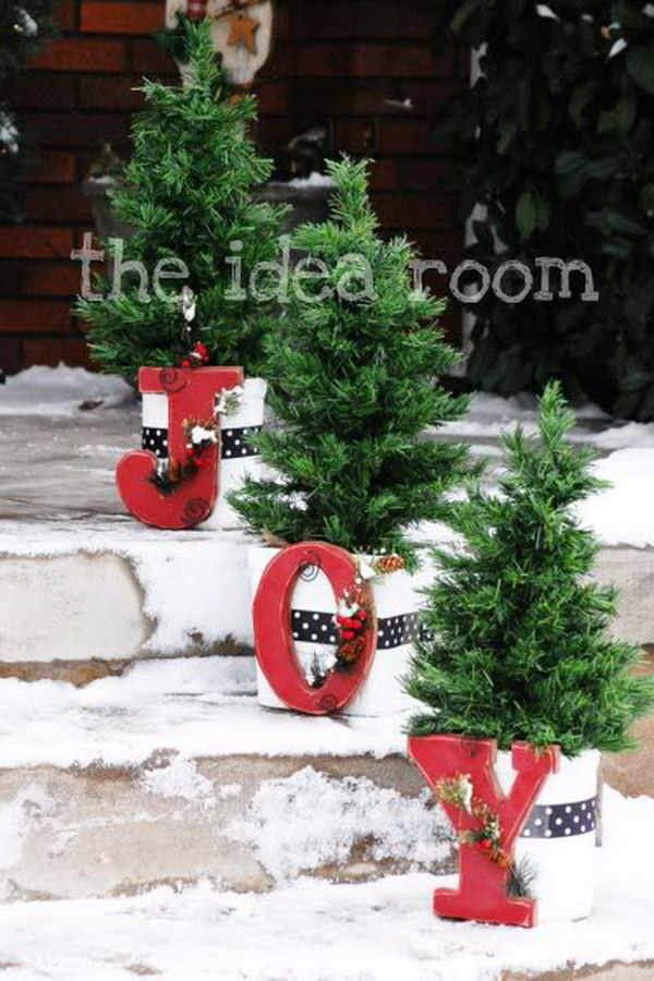 joy flower pots - Joy Outdoor Christmas Decoration